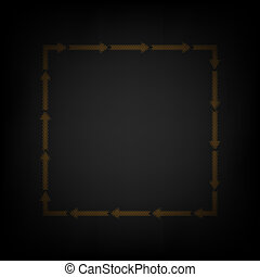 Arrow on a square shape. Icon as grid of small orange light bulb in darkness. Illustration.