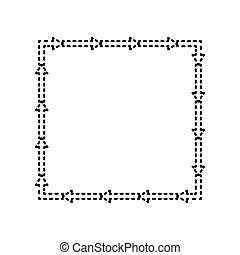 Arrow on a square shape. Vector. Black dashed icon on white background. Isolated.