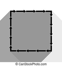 Arrow on a square shape. Vector. Black icon with two flat gray shadows on white background.