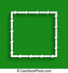 Arrow on a square shape. Vector. Paper whitish icon with soft shadow on green background.