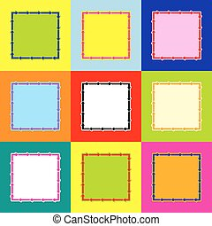 Arrow on a square shape. Vector. Pop-art style colorful icons set with 3 colors.