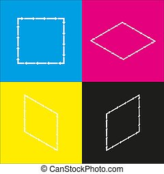 Arrow on a square shape. Vector. White icon with isometric projections on cyan, magenta, yellow and black backgrounds.