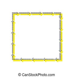Arrow on a square shape. Vector. Yellow icon with square pattern
