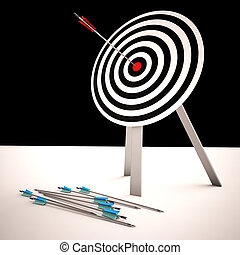 Arrow On Dartboard Shows Centered Shot