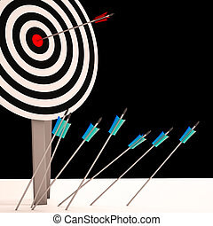 Arrow On Dartboard Shows Perfect Shot