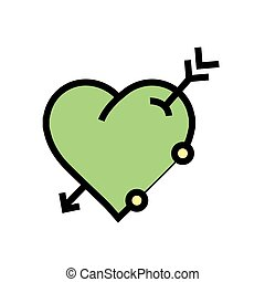 arrow on heart icon Green