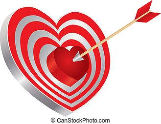 Arrow on Heart Shape Bullseye Illustration