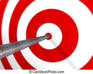 Arrow on Target - A 3D image render of an arrow, spot on, on...