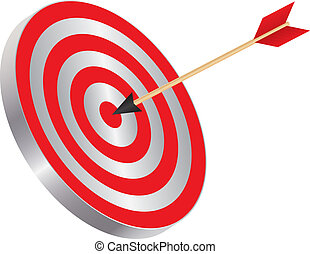 Arrow on Target Bullseye Illustration - Arrow on Archery...