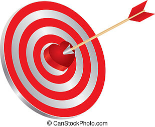 Arrow on Target Heart Bullseye Illustration - Arrow on...