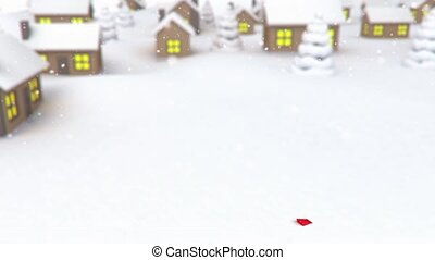 arrow on village background - 3D animation of a simple...