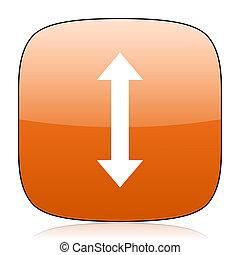 arrow orange square web design glossy icon