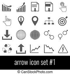 arrow., pictogram, set, 1., grijs, iconen, op wit, achtergrond.