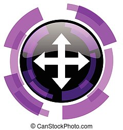 Arrow pink violet modern design vector web and smartphone icon. Round button in eps 10 isolated on white background.