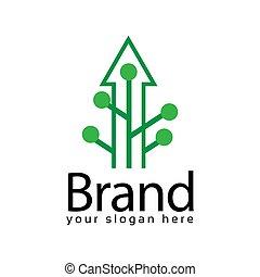 Arrow plant logo, flat design. Vector Illustration on white background