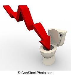 Arrow Plunging Down into the Toilet - A red arrow plunges...