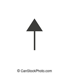 arrow pointer black web icon flat on white background vector template illustration