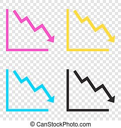 Arrow pointing downwards showing crisis. CMYK icons on transpare