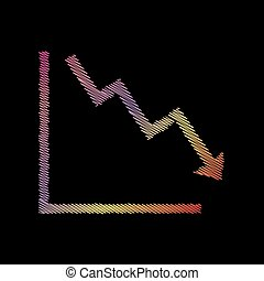 Arrow pointing downwards showing crisis. Coloful chalk effect on black backgound.