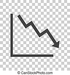 Arrow pointing downwards showing crisis. Dark gray icon on transparent background.