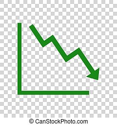 Arrow pointing downwards showing crisis. Dark green icon on transparent background.