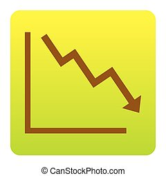 Arrow pointing downwards showing crisis. Vector. Brown icon at green-yellow gradient square with rounded corners on white background. Isolated.
