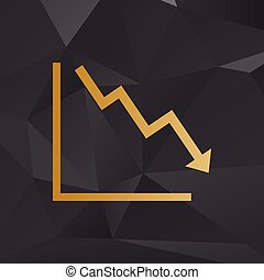 Arrow pointing downwards showing crisis. Golden style on background with polygons.