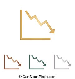 Arrow pointing downwards showing crisis. Metal icons on white backgound.