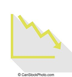 Arrow pointing downwards showing crisis. Pear icon with flat style shadow path.