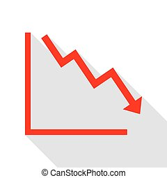 Arrow pointing downwards showing crisis. Red icon with flat style shadow path.