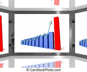 Arrow Pointing Up On Screen Showing Business Progress