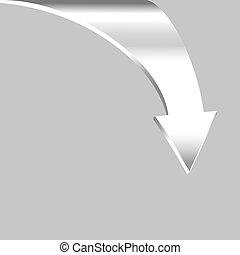 Arrow Points Down. White Silver Metal Color