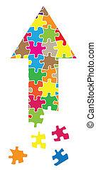 Arrow puzzle vector background