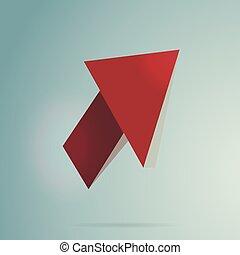 Arrow Red 3d Cursor Icon Vector Illustration