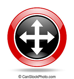 arrow red and black web glossy round icon