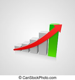 Arrow red business growth art info. Vector