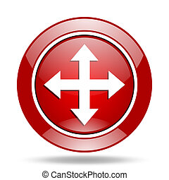 arrow red web glossy round icon