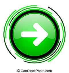 arrow right green circle glossy icon