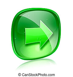 Arrow right icon green glass, isolated on white background.