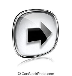 Arrow right icon grey glass, isolated on white background.