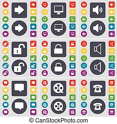 Arrow right, Monitor, Sound, Lock, Sound, Chat bubble, Videotape, Retro phone icon symbol. A large set of flat, colored buttons for your design. Vector