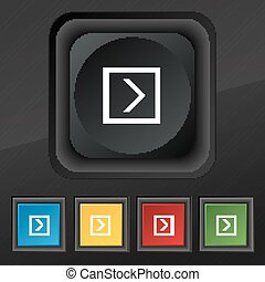 Arrow right, Next  icon symbol. Set of five colorful, stylish buttons on black texture for your design. Vector