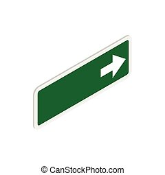 Arrow right road sign icon, isometric 3d style