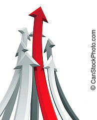 Arrow rising toward same direction success concept 3d...