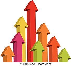 Arrow rising toward same direction success concept 3d illustration