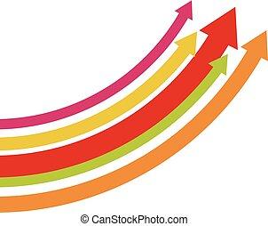 Arrow rising toward same direction success concept illustration