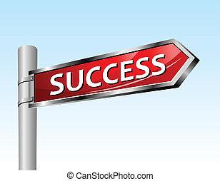 Arrow road sign success
