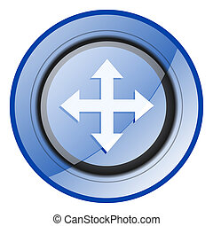 Arrow round blue glossy web design icon isolated on white background