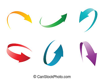 arrow set colorful vector illustration