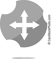 arrow set on web icon (button) . Trendy flat style sign isolated on white background